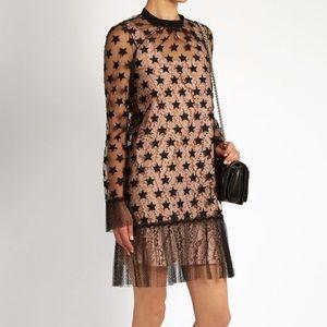 No. 21 star embroidered organza mini dress